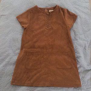 Girls brown suede dress from Zara . Size 11/12 .